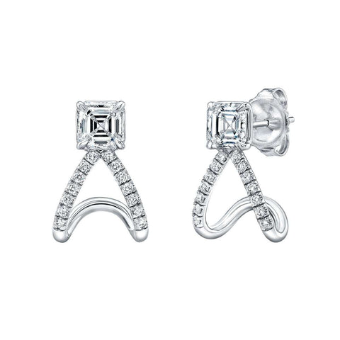 Norman Silverman asscher diamond with pave bottom earring