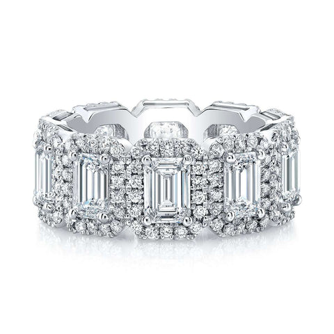 NORMAN SILVERMAN EMERALD CUT AND DIAMOND HALO BAND