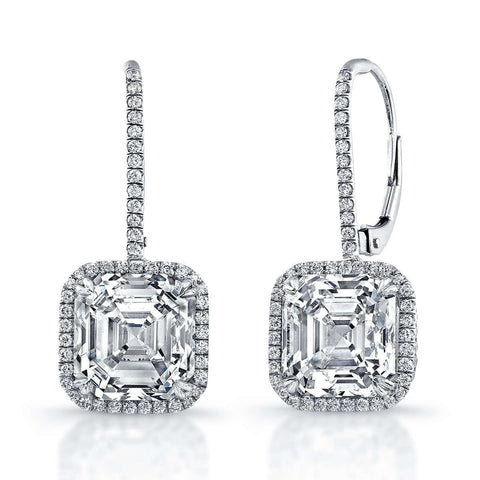 Asscher Diamond center with a halo Earring