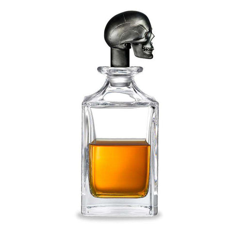 Deakin & Francis Matt Black Skull Head Crystal Decanter