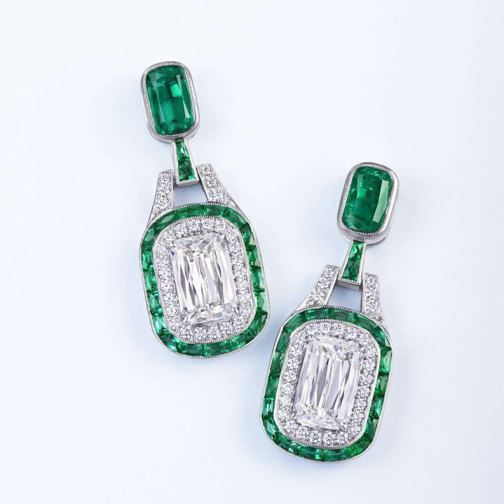 Kwiat Diamond and Emerald Drop Earrings