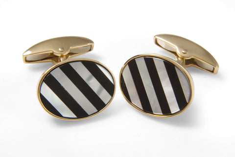 Deakin & Francis Yellow Gold Cufflinks with Striped Mother of Pearl and Onyx Gemstones
