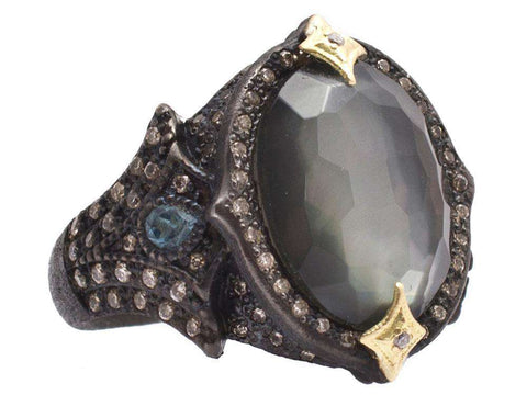 Armenta Old World Blackened Sterling Silver Gold Ring