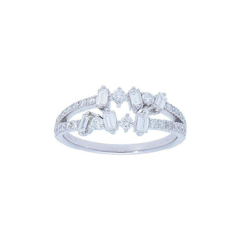 DOUBLE ROW BAGUETTE AND ROUND DIAMOND RING