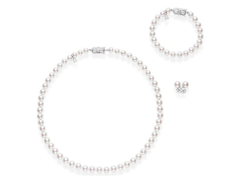 Mikimoto Pearl Stud Earring and Bracelet