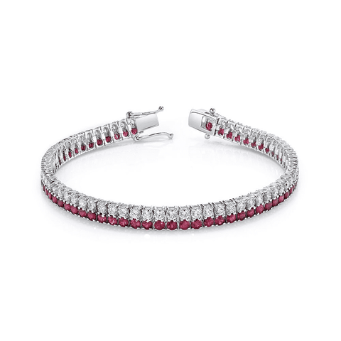 Norman Silverman Diamond and Ruby Bracelet
