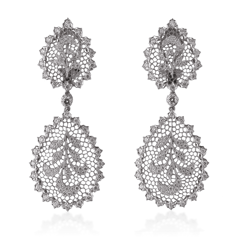 Buccellati Tulle Ornato Pendant Earrings with chain