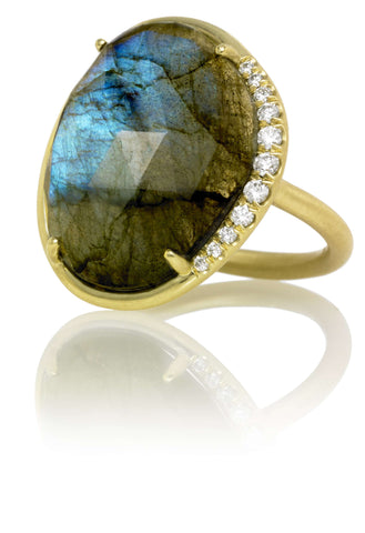 LAUREN K LABRADORITE & DIAMOND RING