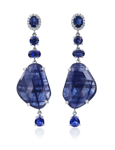LAUREN K SAPPHIRE AND DIAMOND EARRINGS