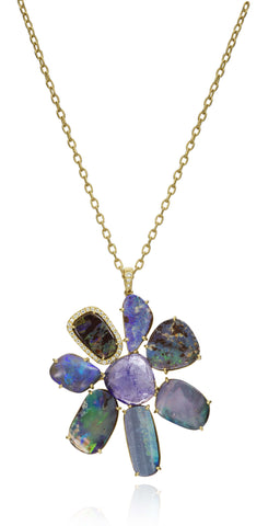 LAUREN K BOULDER OPAL FLOWER NECKLACE