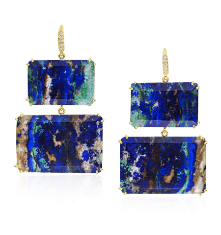 Lauren K Joyce Azurite Malachite Two Stone Earrings