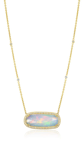 LAUREN K OPAL & DIAMOND NECKLACE