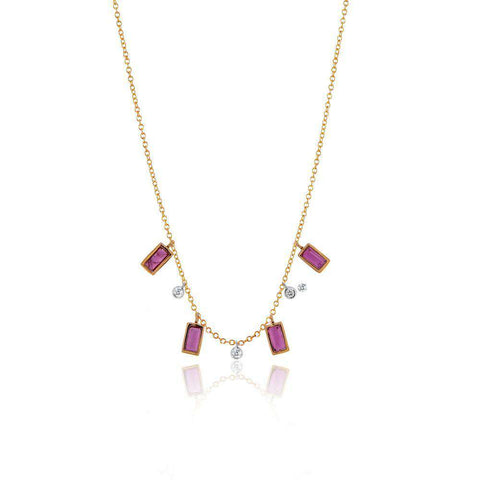 MEIRA T RUBY & DIAMOND DANGLE NECKLACE