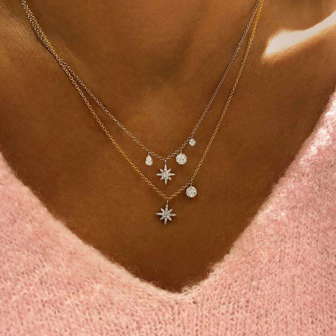 Meira T Starburst Diamond Charm Necklace