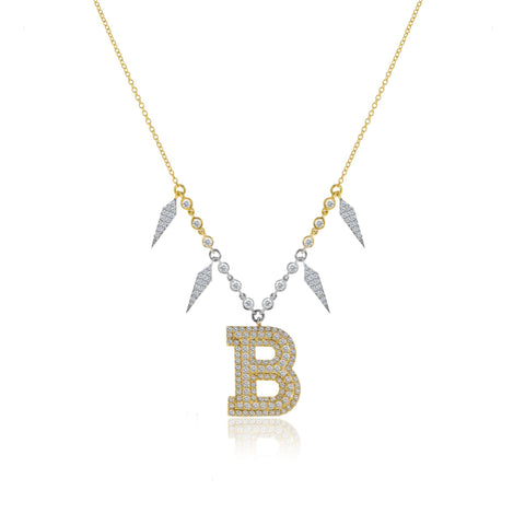 Meira T Statement Diamond Initial Necklace