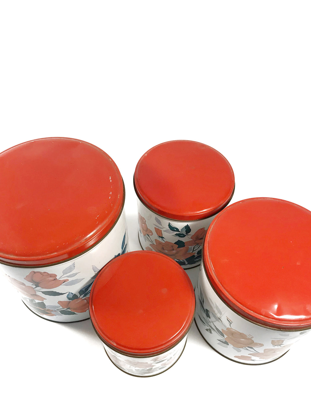 Set of Four Vintage Willow Canisters