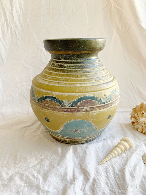 Large Pottery Vase in Olive Green and Sea Blue