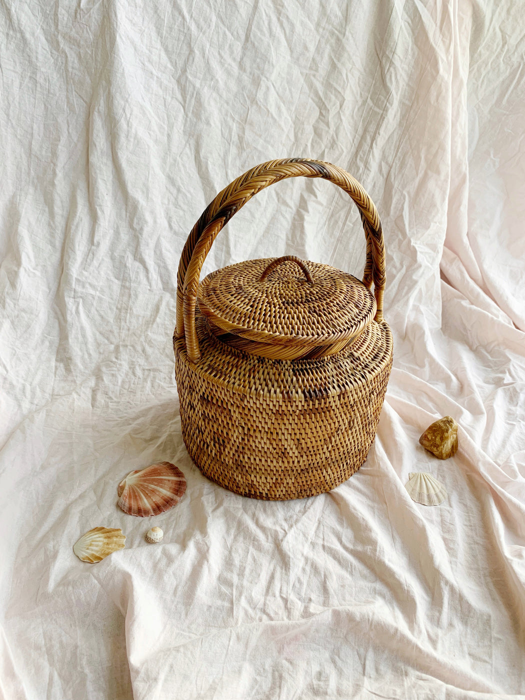 African Woven Basket with Lid and Handle