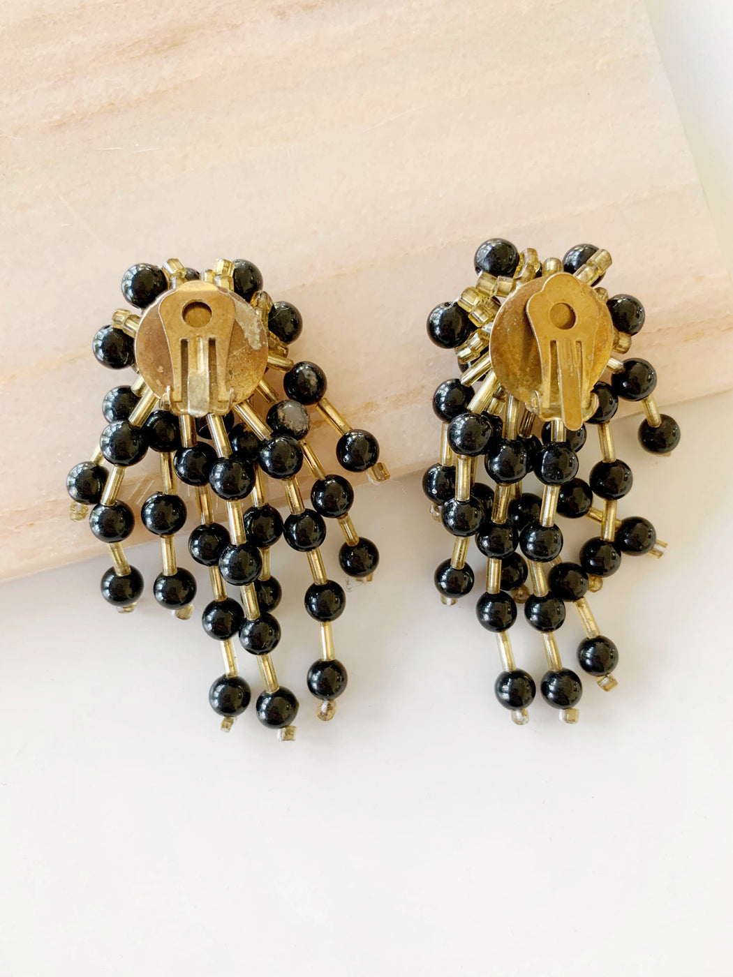Black Beaded Dangle Clip On Earrings
