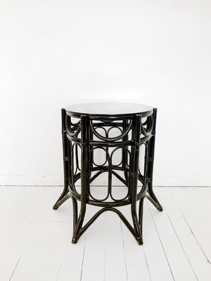 Vintage Black Cane Table