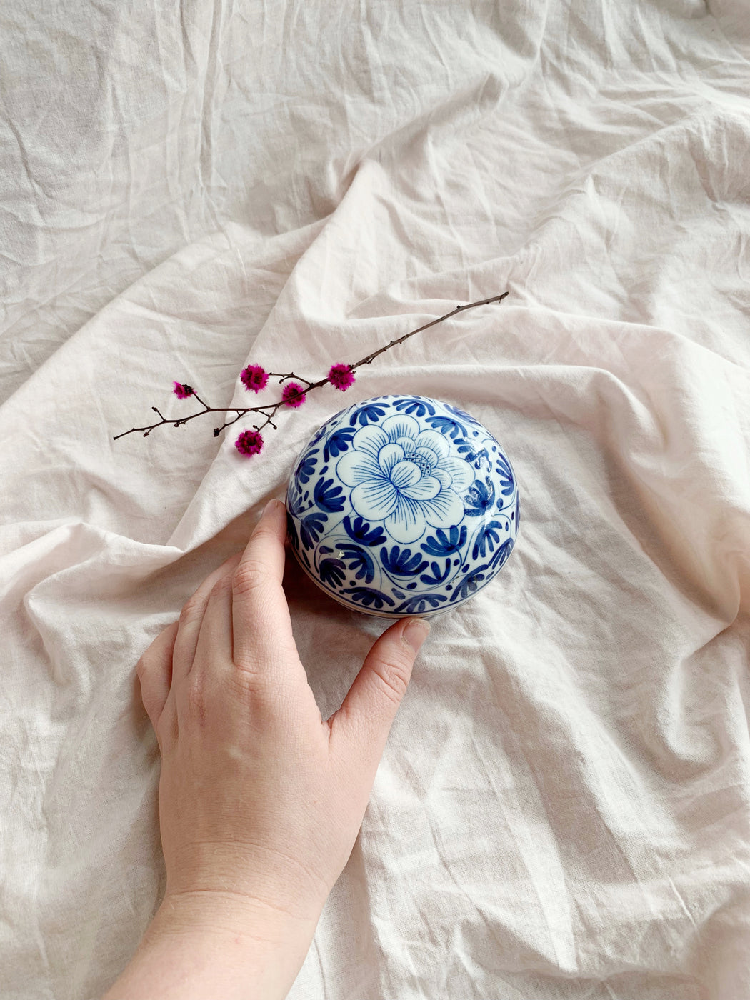 Blue and White Round Ceramic Box - Storytellers Workshop
