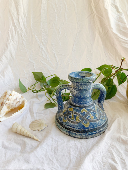Blue Pottery Vase with Celtic Pattern