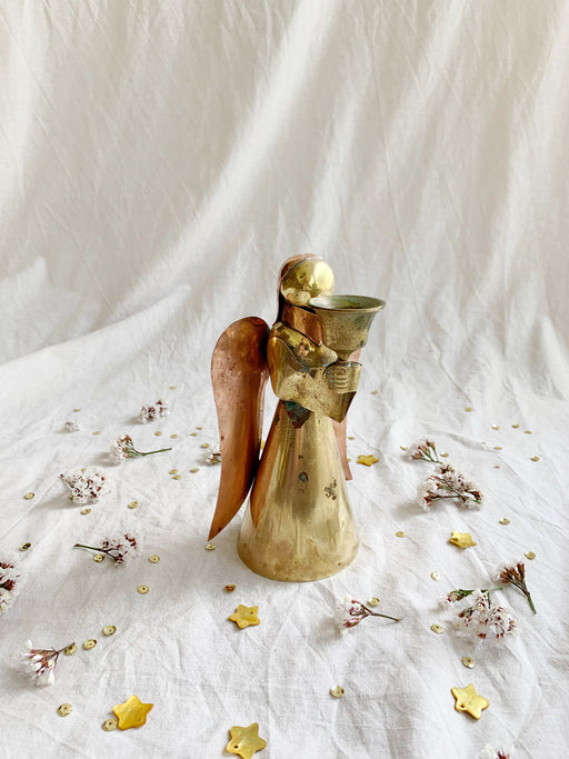 Rustic Brass and Copper Angel Candlestick Holder