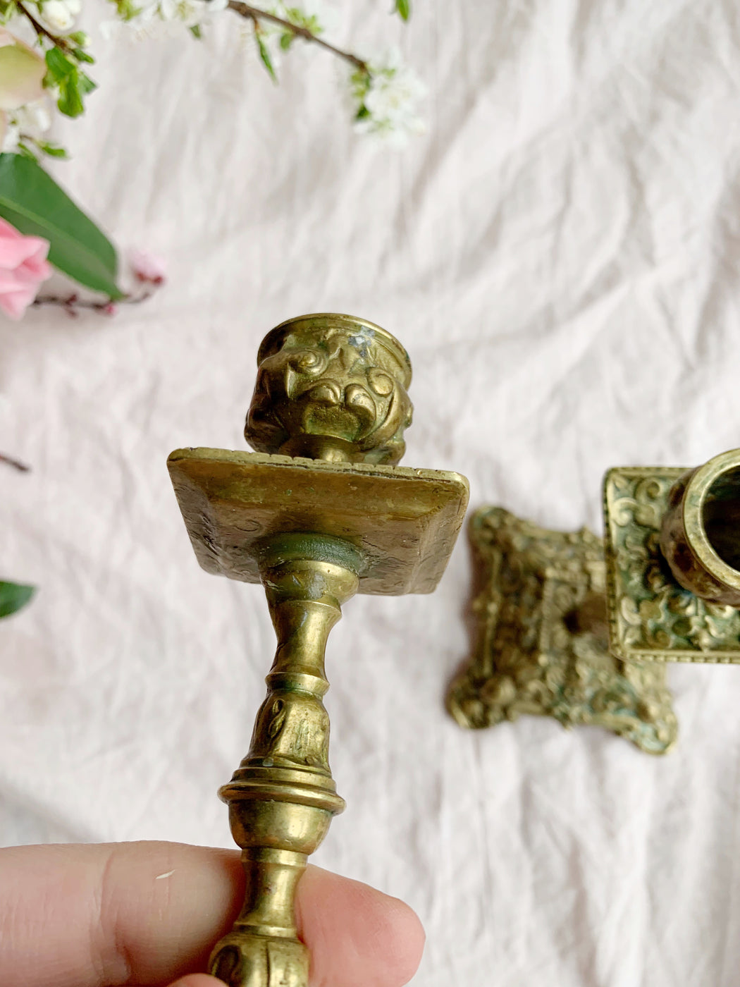 Pair of Ornate Candle Stick Holders | Storytellers Workshop
