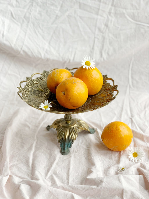 Brass Fruit Bowl on Pedestal