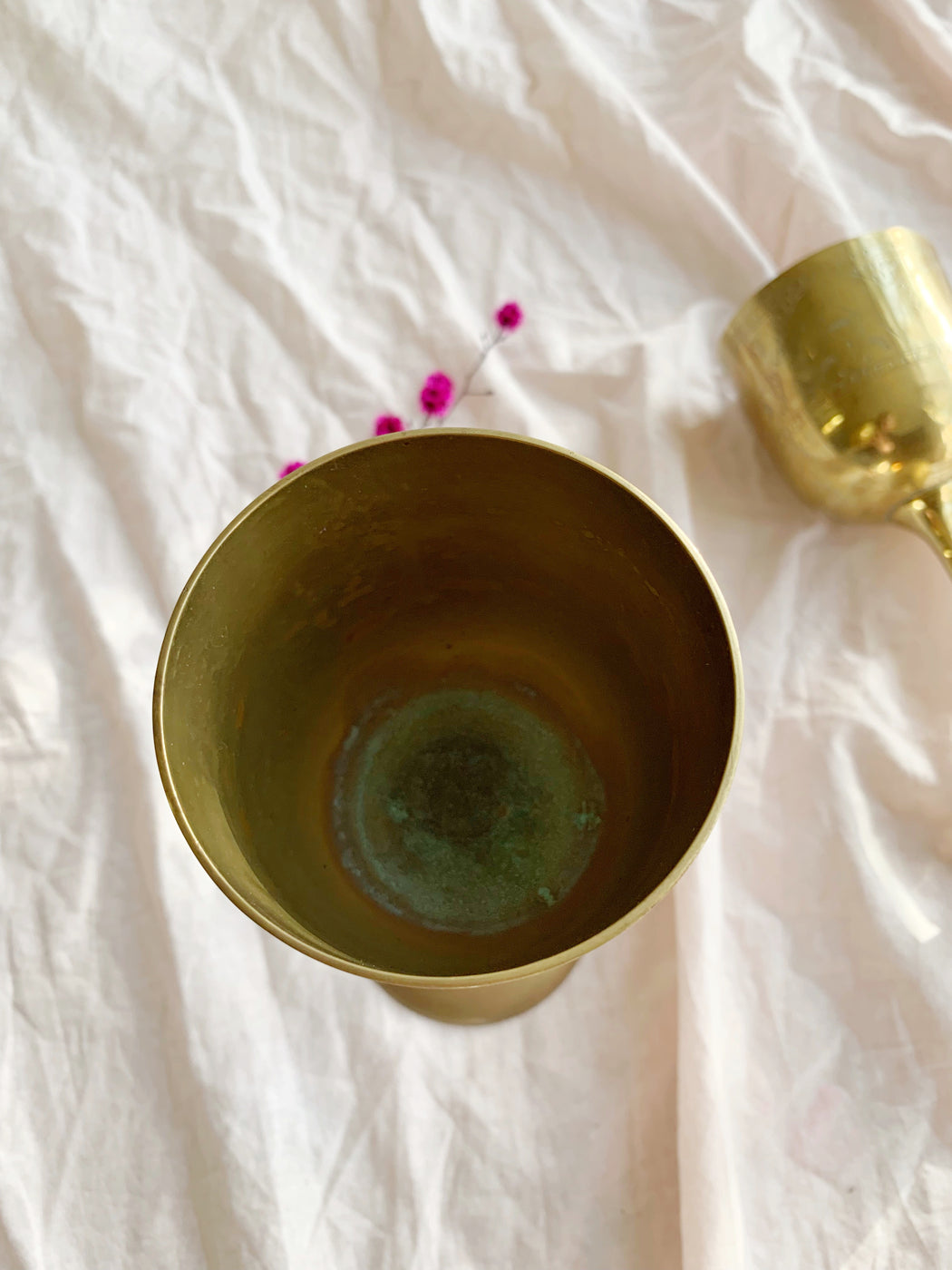 Pair of Etched Brass Goblets | Storytellers Workshop