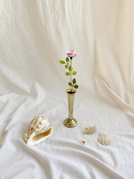 Brass Vase with Lilac Rose - Storytellers Workshop