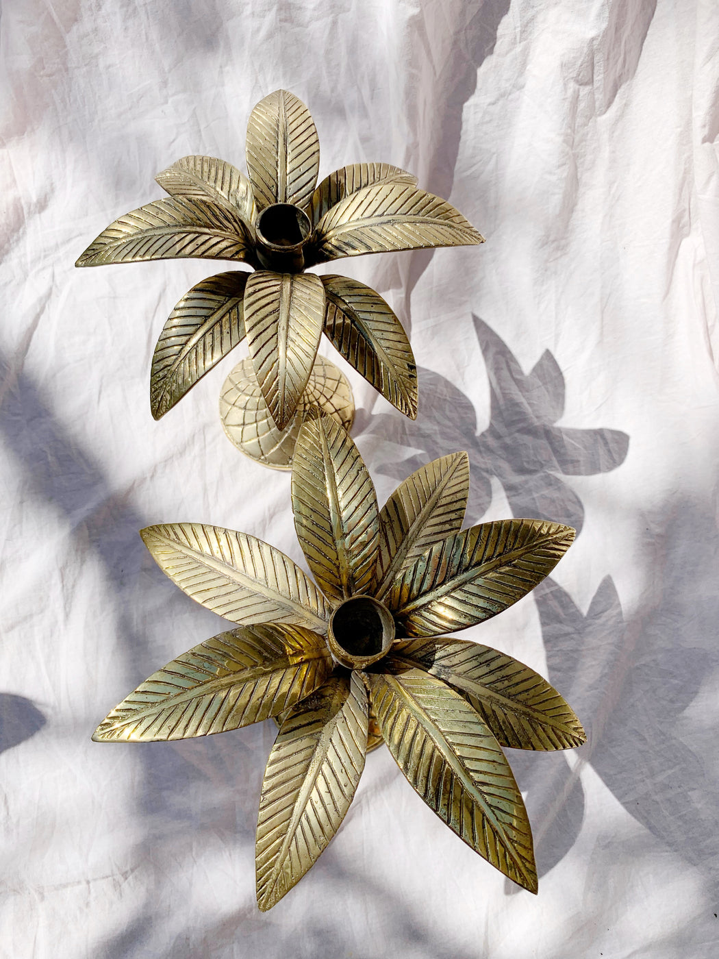 Pair of Brass Palm Tree Candlestick Holders | Storytellers Workshop