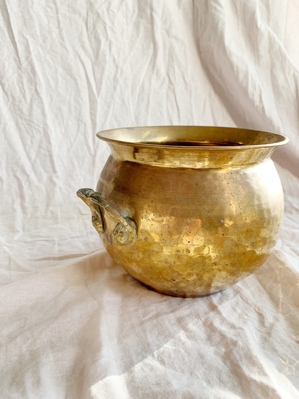 Medium Hammered Brass Pot