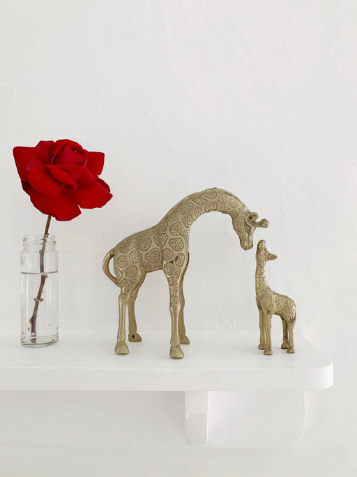Brass Mother and Baby Giraffe Ornaments