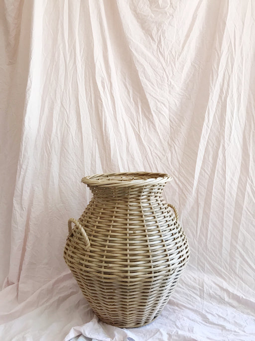 Large Cane Basket with Handles