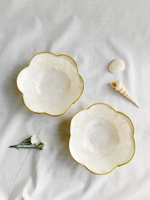 Pair of Capiz Shell Flower Shaped Bowls