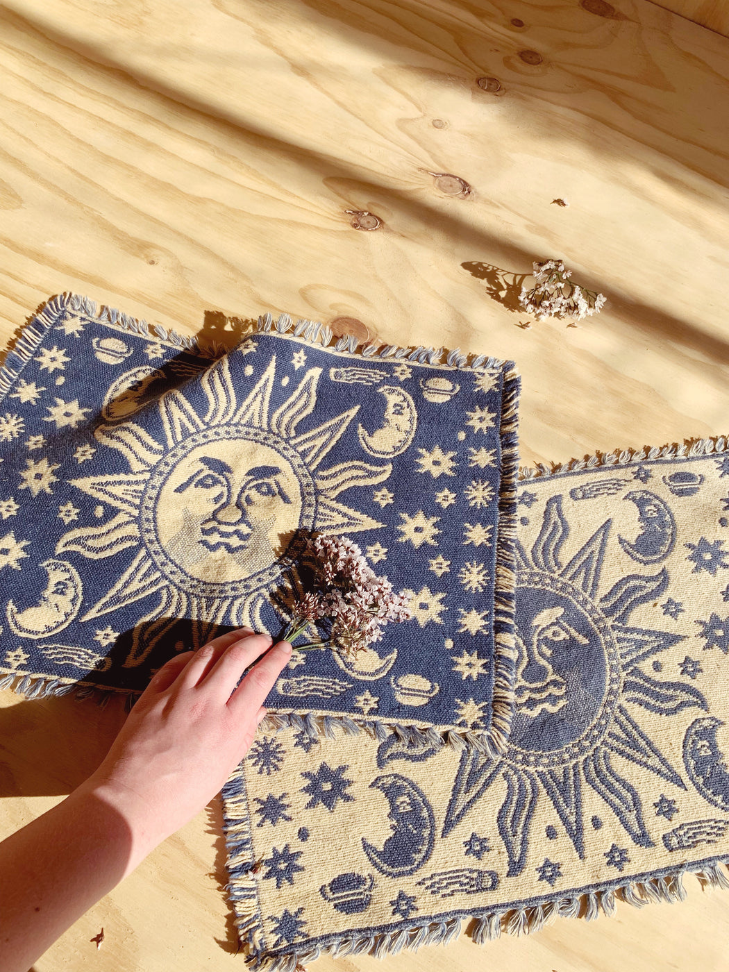 Set of Two Cotton Celestial Placemats