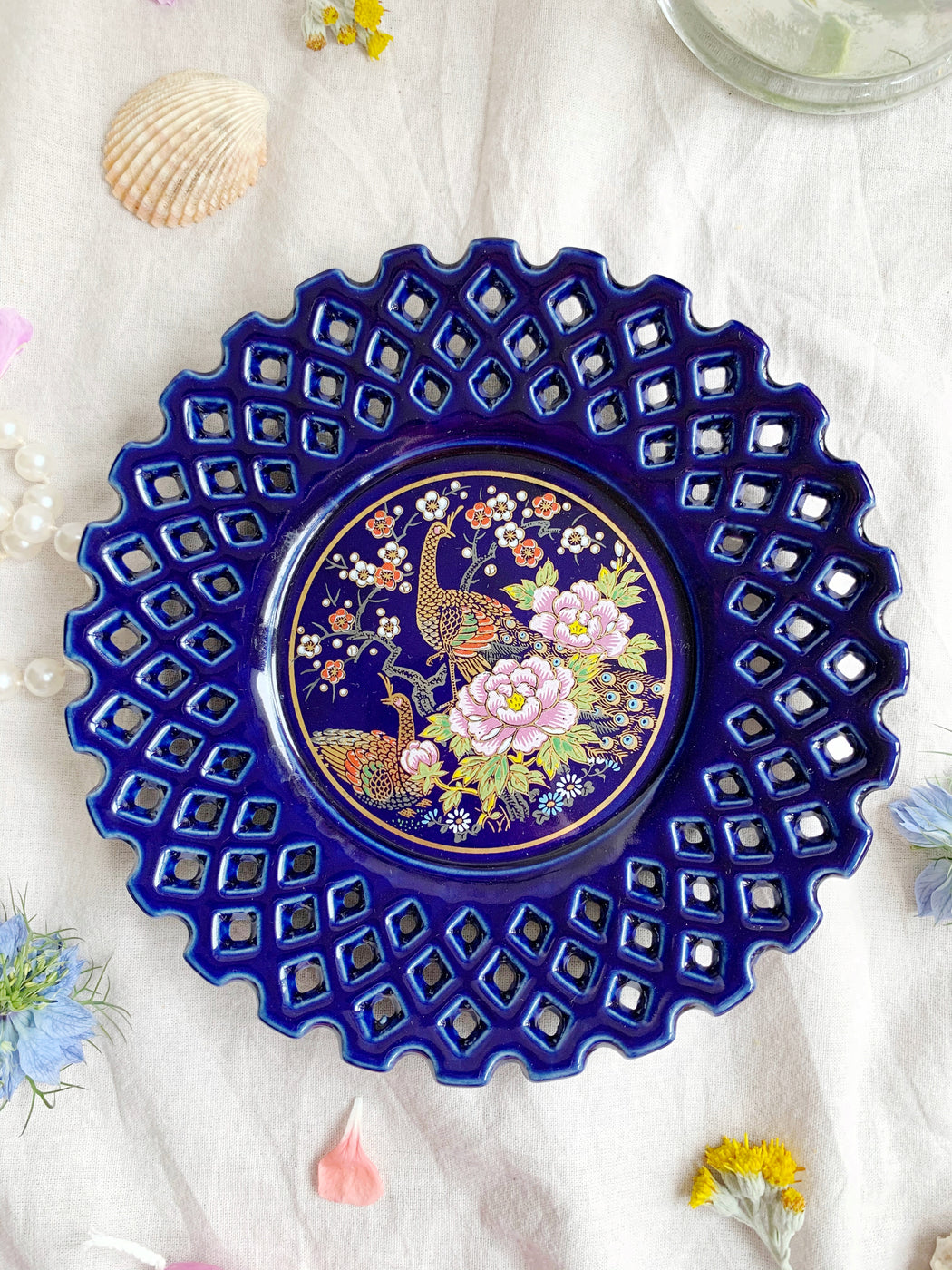 Blue Peacock Plate - Storytellers Workshop