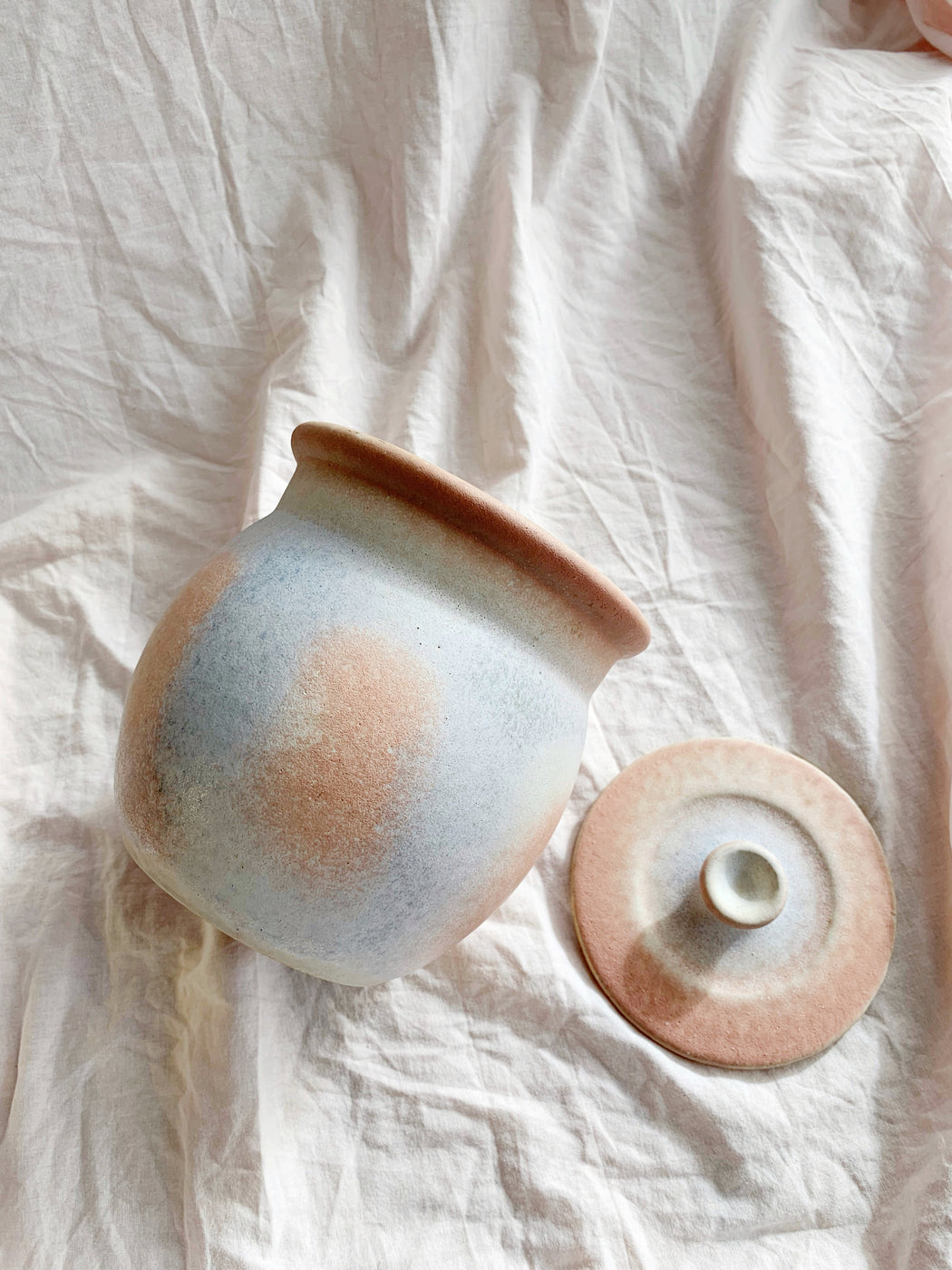 Pastel Pink and Blue Ceramic Canister | Storytellers Workshop