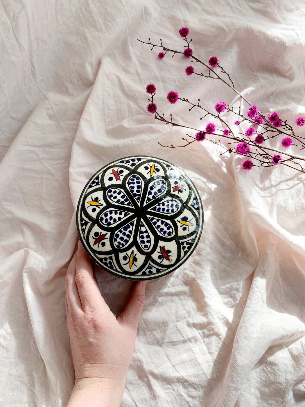 Hand Painted Ceramic Moroccan Round Container - Storytellers Workshop