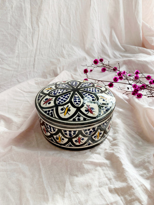 Hand Painted Ceramic Moroccan Round Container
