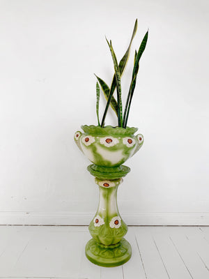 Vintage Green Ceramic Plant Pot and Stand