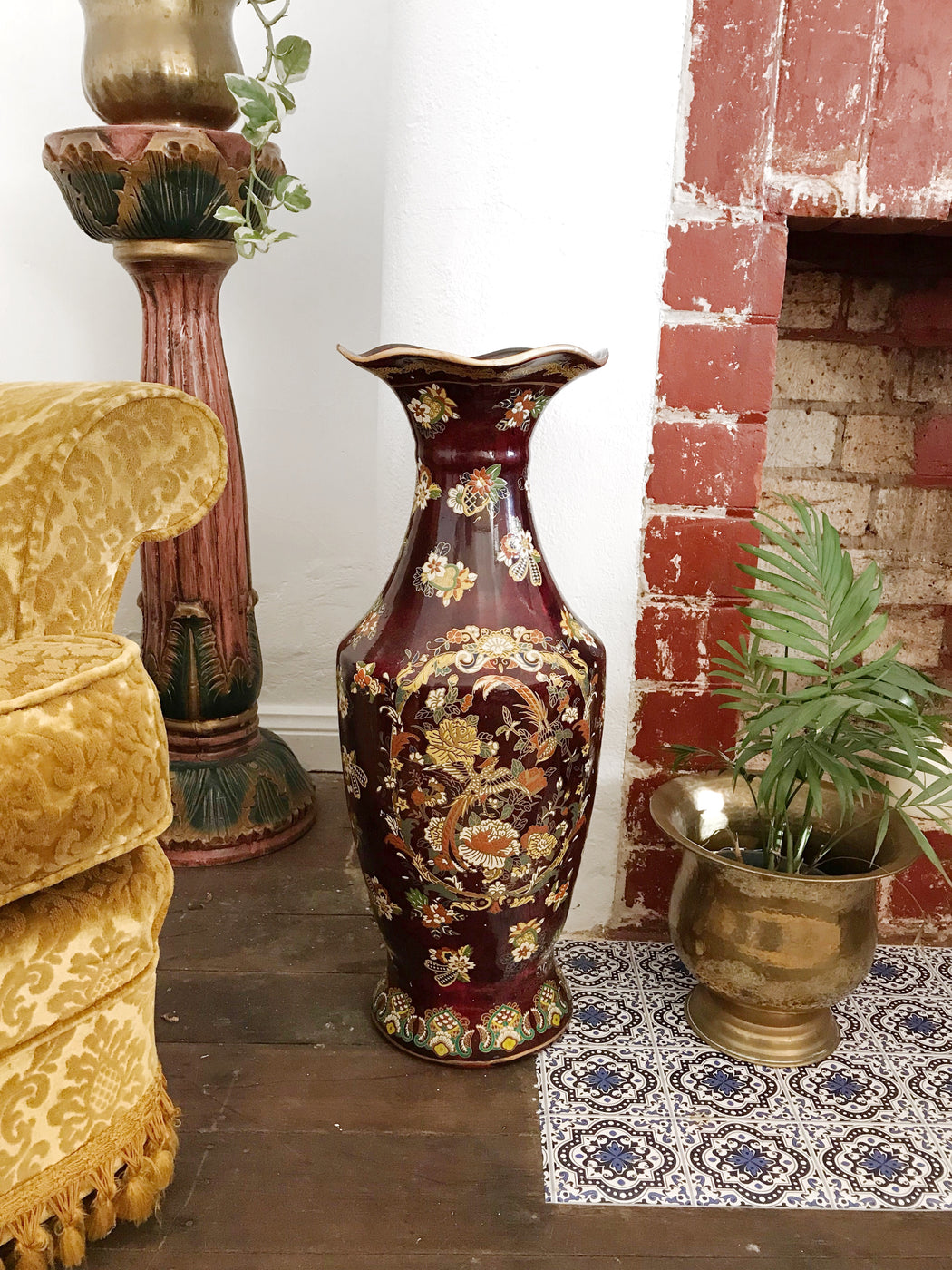 Large Chinese Cloisonné Floor Vase