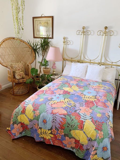 Double Size Colourful Floral Quilt Cover