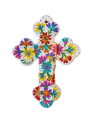 Large Colourful Flower Ceramic Cross - White