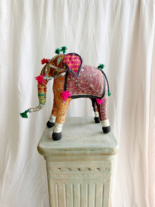 Fabric Patchwork Indian Elephant Ornament - Storytellers Workshop