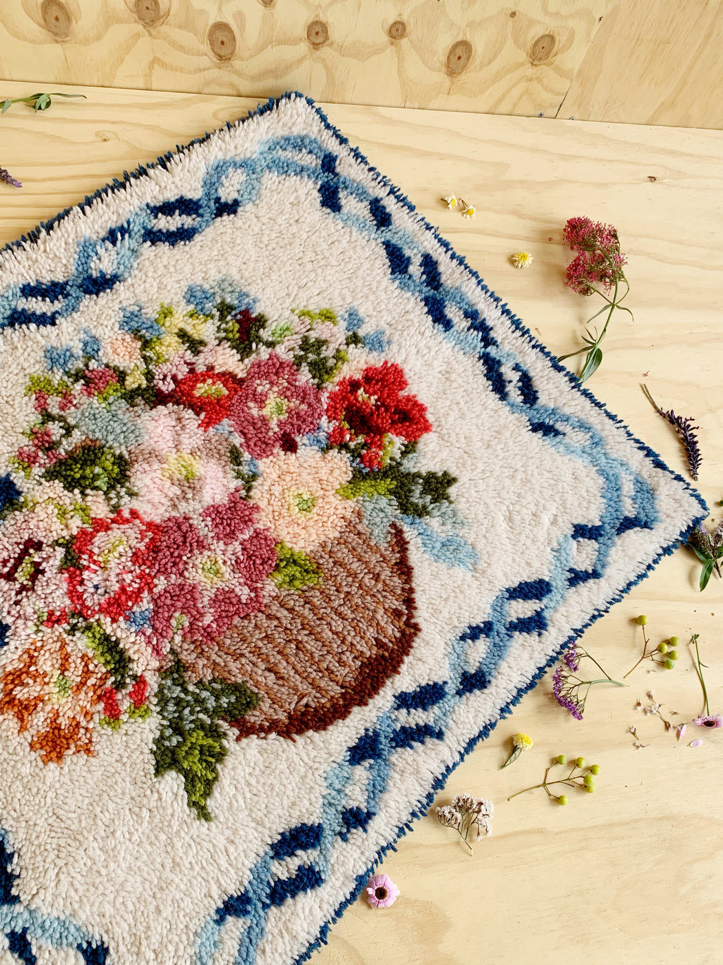 Medium Vintage Handmade Latch Hook Flower Bouquet Rug