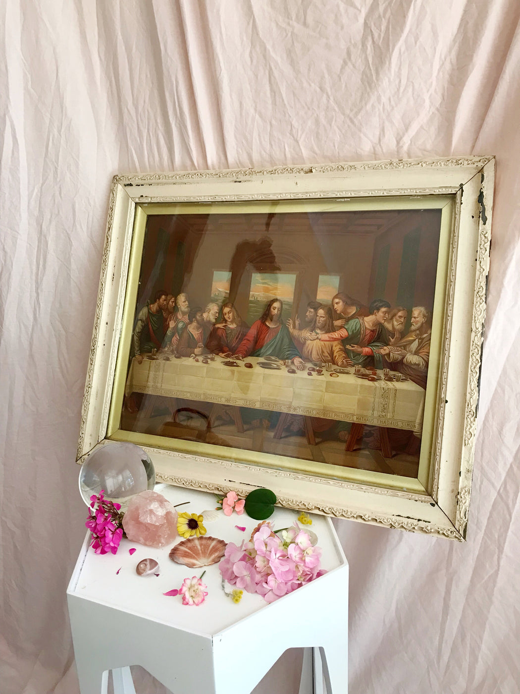 Vintage Framed Jesus The Last Supper Print