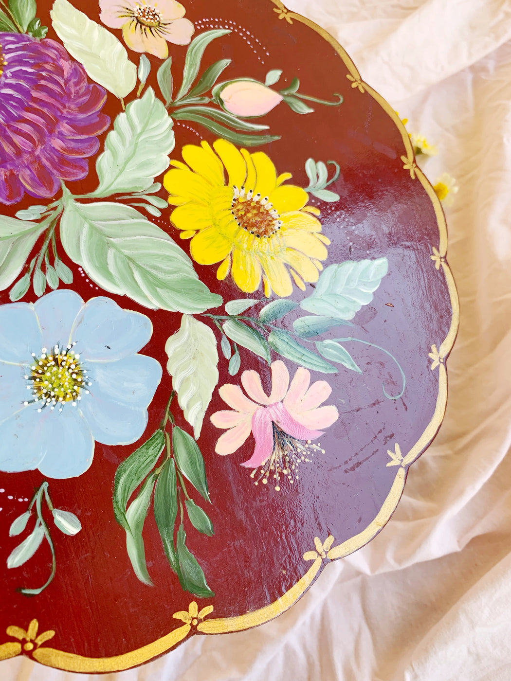 Hand-Painted Floral Trivet Plate