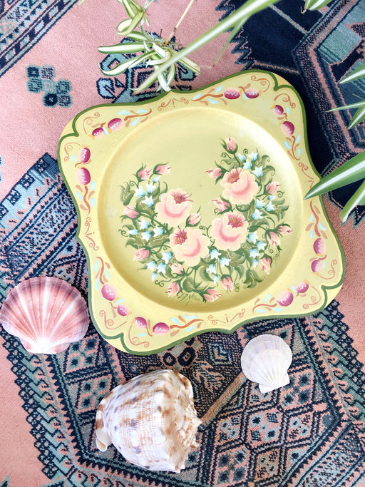 Hand-Painted Floral Wall Plate